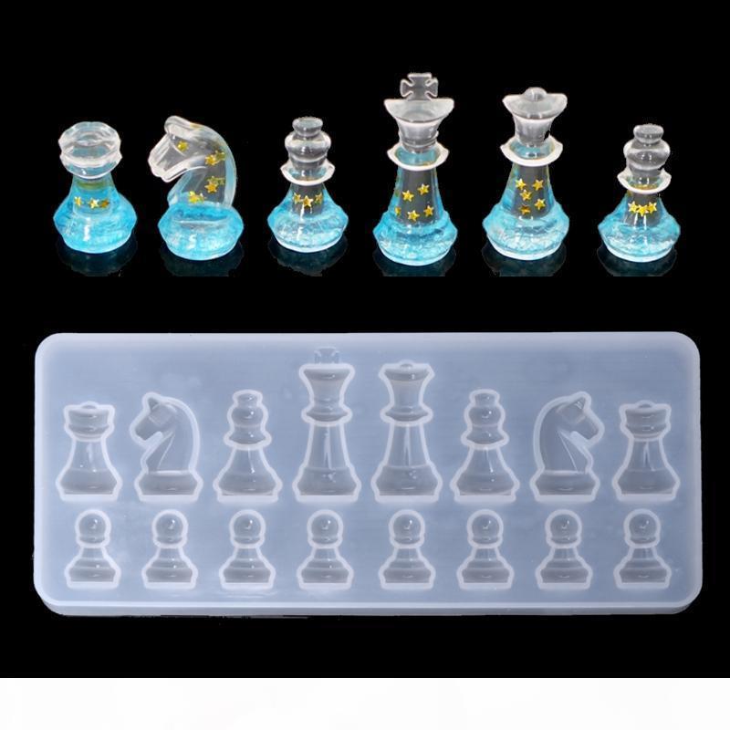Moule de silicone en silicone de forme internationale d'échecs de bricolage UV Epoxy résine de moules de moules pour bijoux