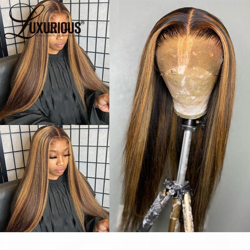Brasileño natural 360 encaje frontal peluca recta resalta miel rubia marrón completo 13x6 encaje frente pelucas de pelo humano para mujeres 8-26