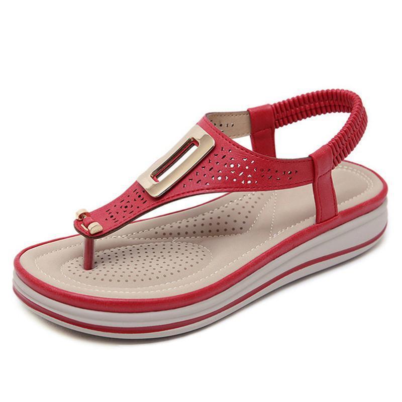 Sandali Summer Summer Platform Flip Flops Donna Solid Color Beach Spiaggia in pelle morbida confortevole tacchi a basso contenuto di appartamenti scarpe in metallo grande dimensione