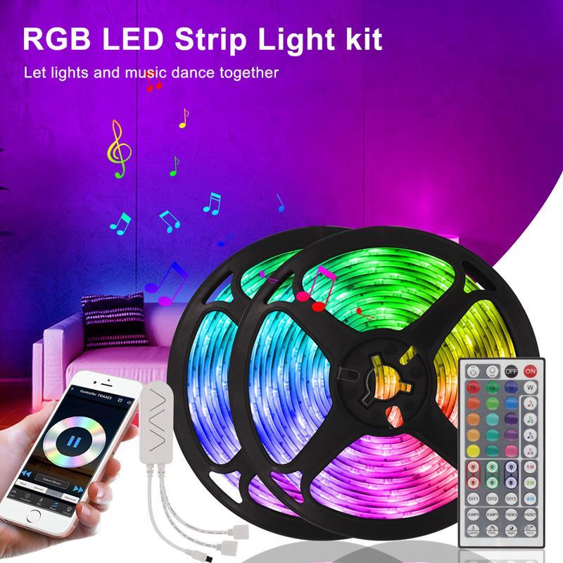 16.4ft 32.8ft 50ft 66ft led 스트립 5m 10m 15m 20m RGB 5050 LED 라이트 스트립 Wift Bluetooth 컨트롤러가있는 스마트 라이트