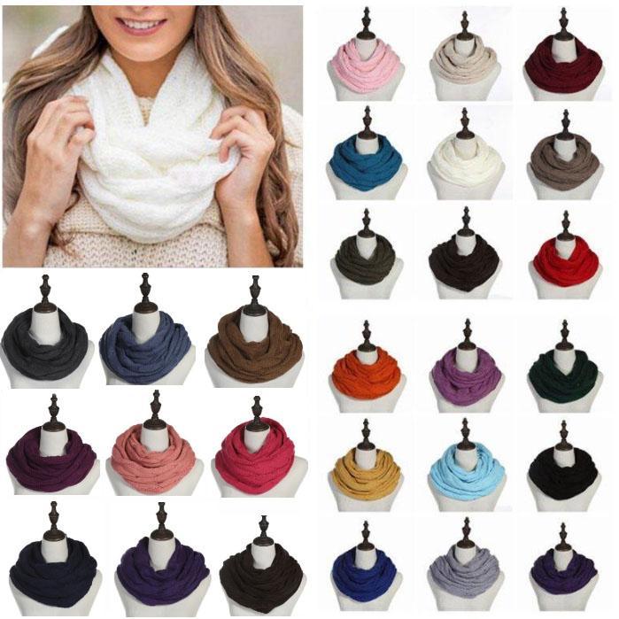 Nueva bufanda del invierno 35 * 140 cm círculo Loop bufanda de las mujeres del abrigo de las bufandas 25 colores grueso cálido cuello grande de la bufanda de los niños con el logotipo de fiesta HH9-3370
