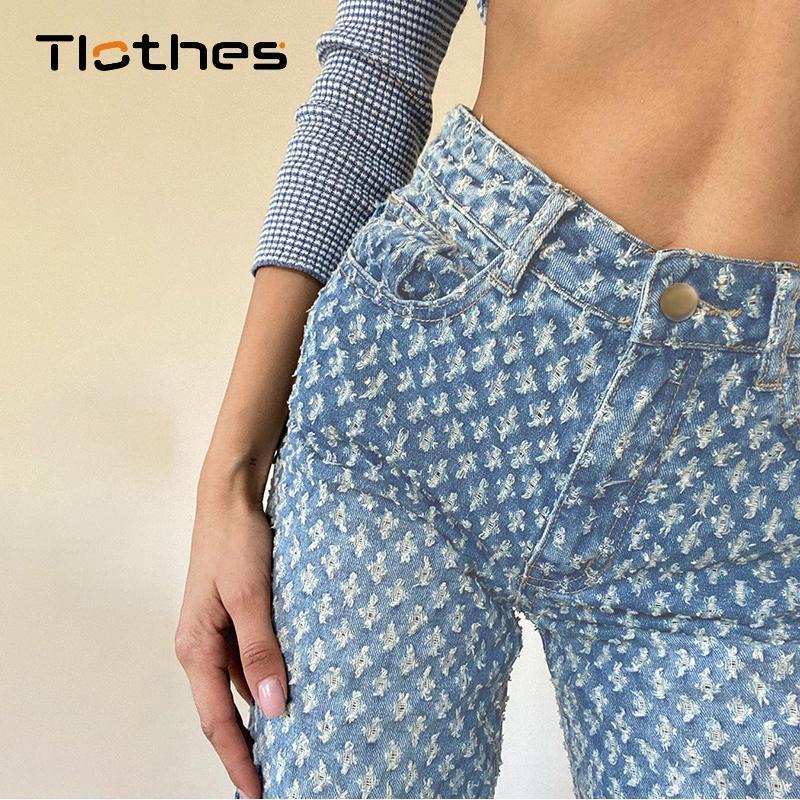 Женские джинсы с высокой талией мама для женщин-стрит одежды мода свободные дыры джинсовые брюки тощий тонкий ковбой длинный брюк широкая нога