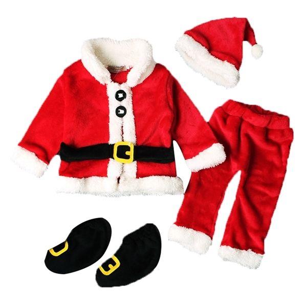 0-12M Christmas Baby Boy Девочка одежда Наборы Детские Christams Санта Клаус Топы + брюки + Hat + ботинки Xmas Outfit 1021