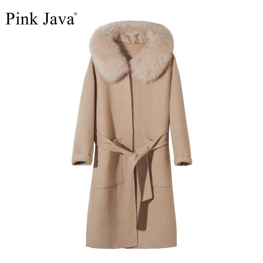 Rosa Java QC19055-2 Nova chegada venda quente raposa raposa colarinho de lã casaco carrashmere casaco grande tamanho mulheres casaco de moda atacado 210204