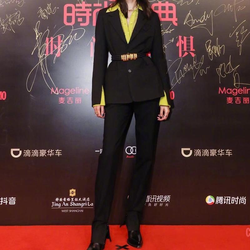 2021 Bahar Yeni Mizaç Gömlek Kollu Siyah Uzun Güzel Ceket Yüksek Kalite Üç Kadın Giysiler Suit 50Ov