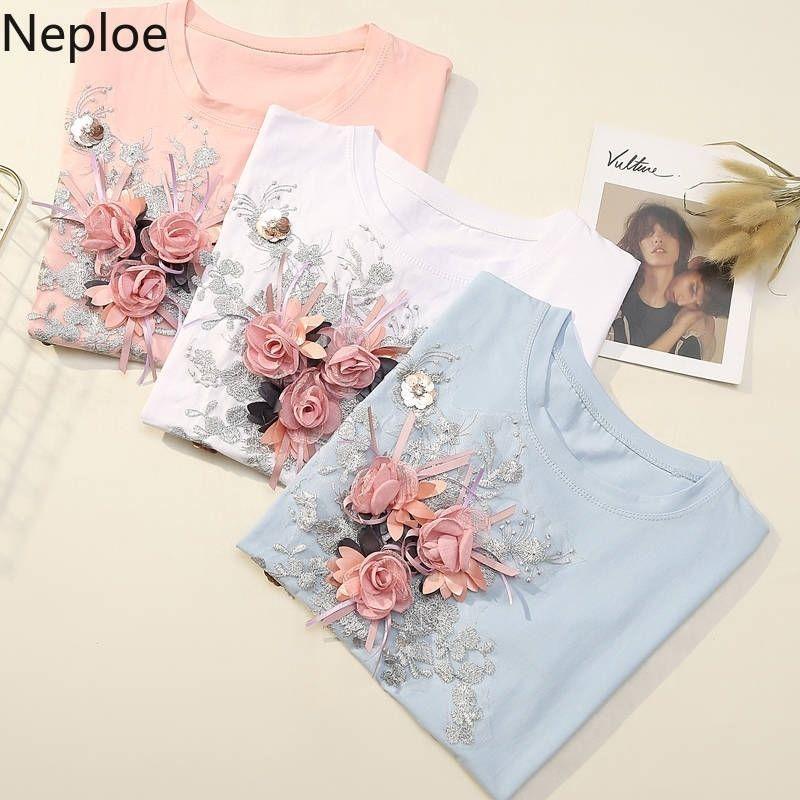 NePloe Plus Tamaño T Shirt para Mujeres Coreana Moda Bordado Bordado Flor Femme Camisa Tops O Cuello Estudiante suelto Casual Camiseta Tshirt Y200109
