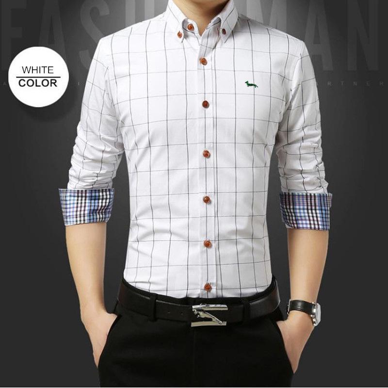 Мужские рубашки рукава вышивка новая хлопчатобумажная пледа Slim Fit Happont Blouse Blaine длинное платье пружины WWIKG