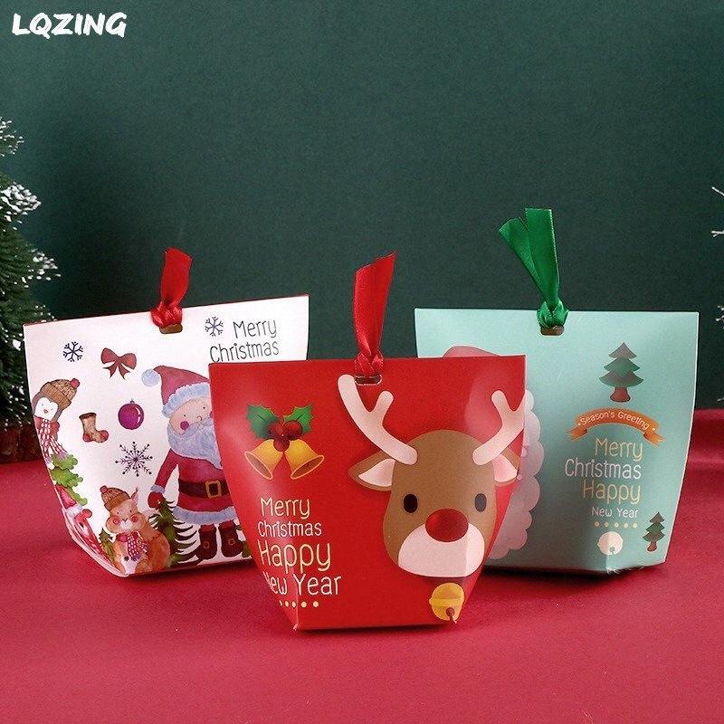 50x Joyeux Noël Sac de papier de Noël Elk cadeau Cookie Emballage Sac en papier cadeau Kraft bonbons biscuits Boîte avec ruban ofhJ #