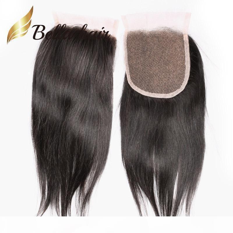 Верхнее закрытие и 4 пакета прямые волосы плетены бразильские прямые волосы с закрытием 5шт Лот Беллахаин