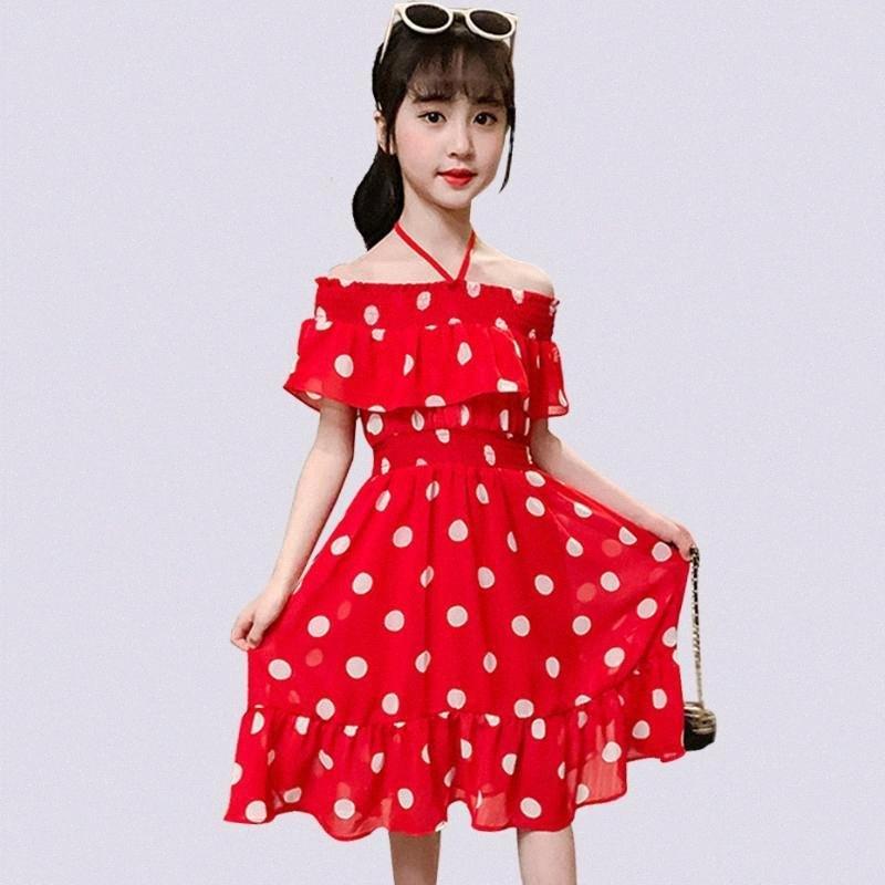 Mädchen-Sommer-Kleid-beiläufigen Mädchen-Kind-Kleid-Kind-Kleid Schulterfrei Teenager-Kind-Mädchen-Kleidung 6 8 10 12 14 KDVO #