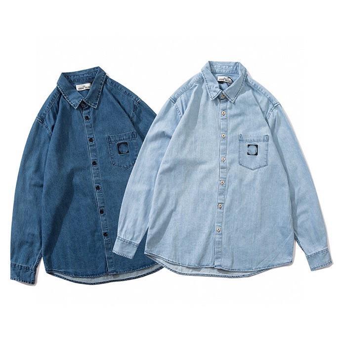 Männer- und Damenmode-Mode-Klassiker bestickter Label Denim-Hemdjacke Langarm-Strickjacke-Hemdjacke Freies Verschiffen