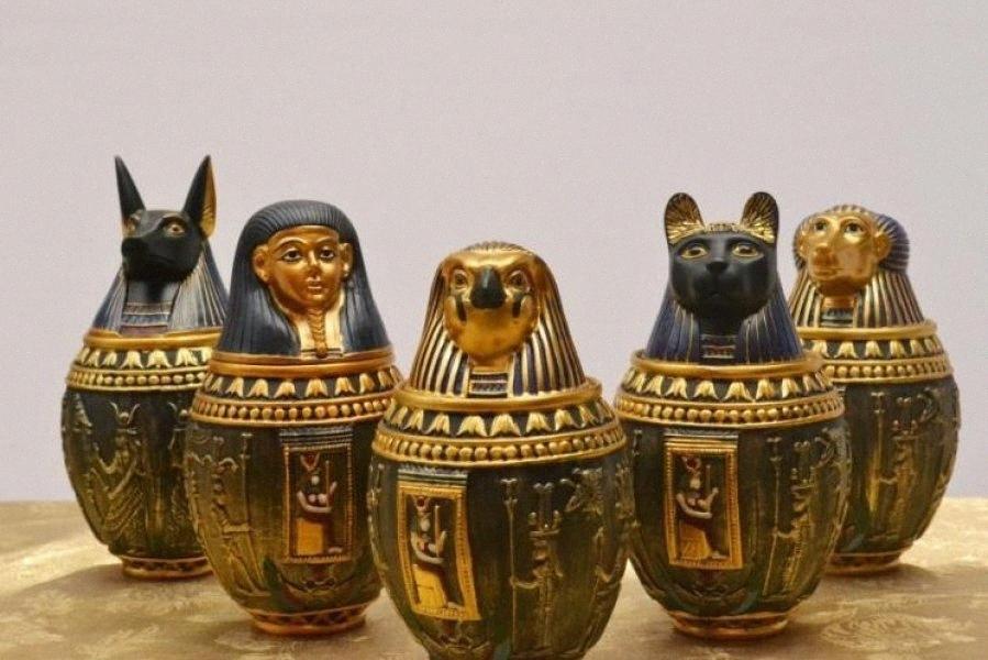 Wholesale-Egyptian Canopic Jar Set of 5 - Hapi Duamutef Imseti Qebehsenuef Burial Urn Home Decor Statue Egypt 18cm height xxbM#