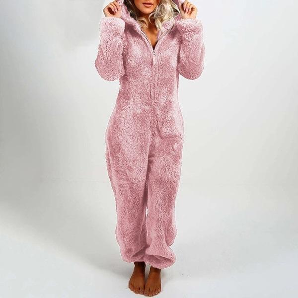Mujeres espesados Mono de felpa 2021 New Womens Rampers Mujeres Sólido Color Sólido Pijamas Pijamas Mujeres Desgaste suave Pijamas Venta caliente