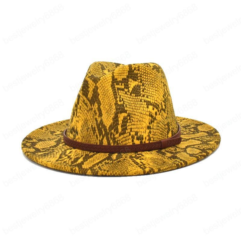 Neue damen wolle fedora hüte männer schlange drucken bowler hut top hüte mode frauen outdoor jazz hüte
