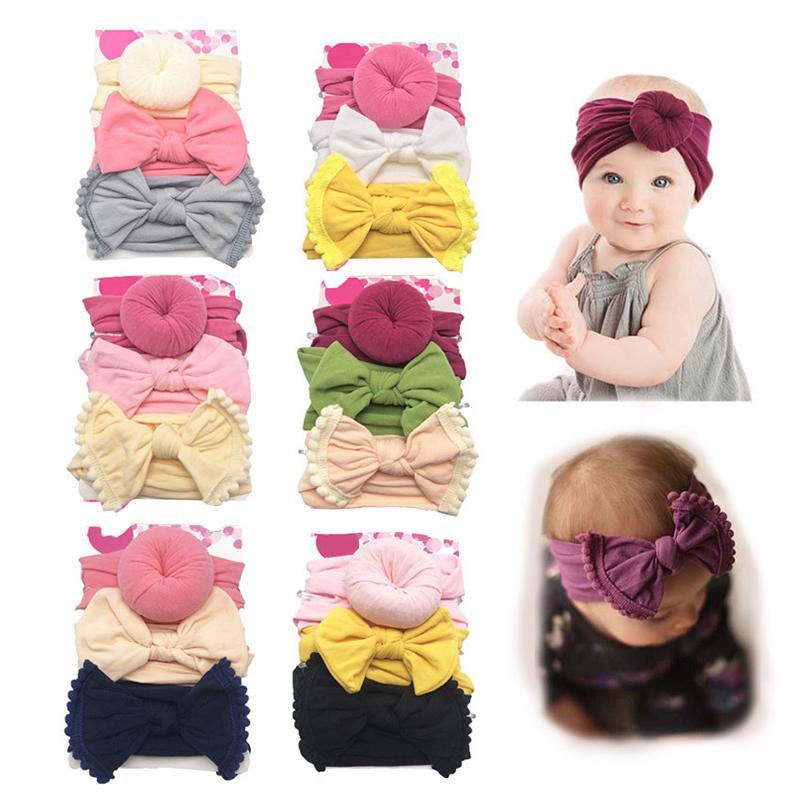 الطفل العمامة رباطات الطفل بنات Hairbands عقدة القوس العمامة مل 3pcs / مجموعة الرضع Hairbands مطاطا الأطفال عقدة اكسسوارات الشعر