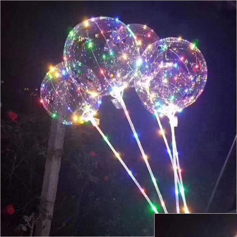 Led Bobo Balloon With 31.5inch Stick String Balloon Light Christmas Halloween Wedding Birthday Party Decoration bbyQdD packing2010