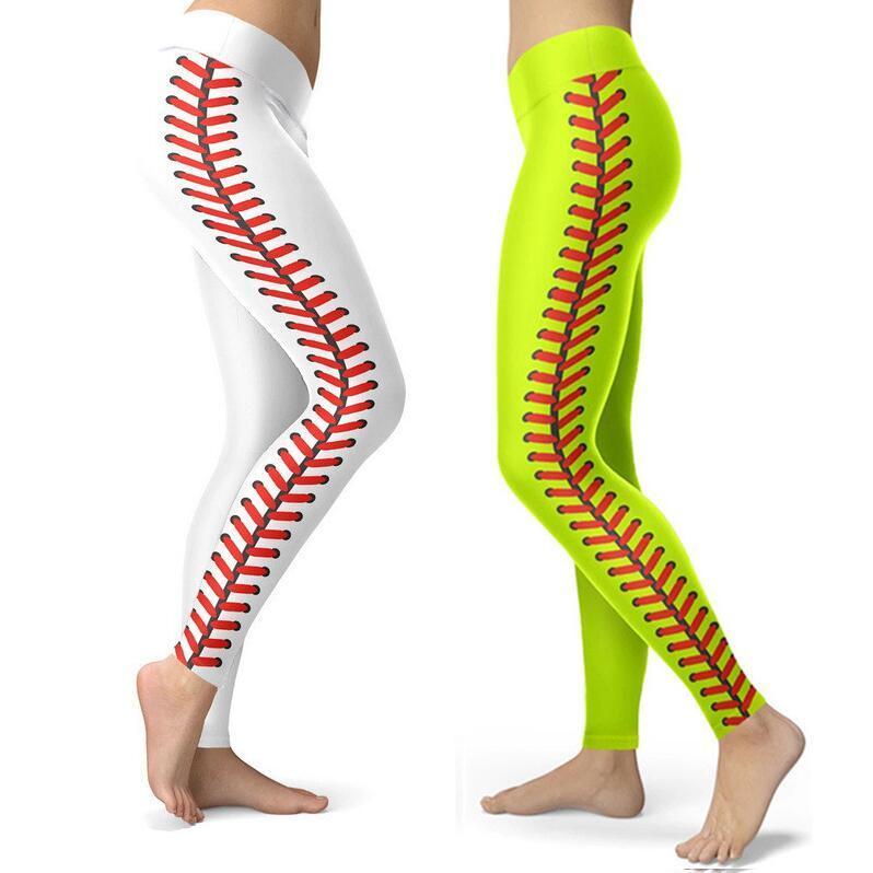 S-3XL Sport Sweat Sweat Pantaloni Softball Leggings Collant Spandex Leggings Neon Softball Stitch Yoga Fitness Atletico Pantaloni da corsa Pantaloni E122307