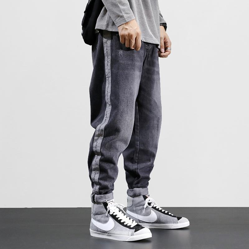 Koreanische Art Mode Retro Grey Lose Fit Harem Große Größe 28-42 Streifen Designer Hip Hop Jeans Männer Bleistifthose