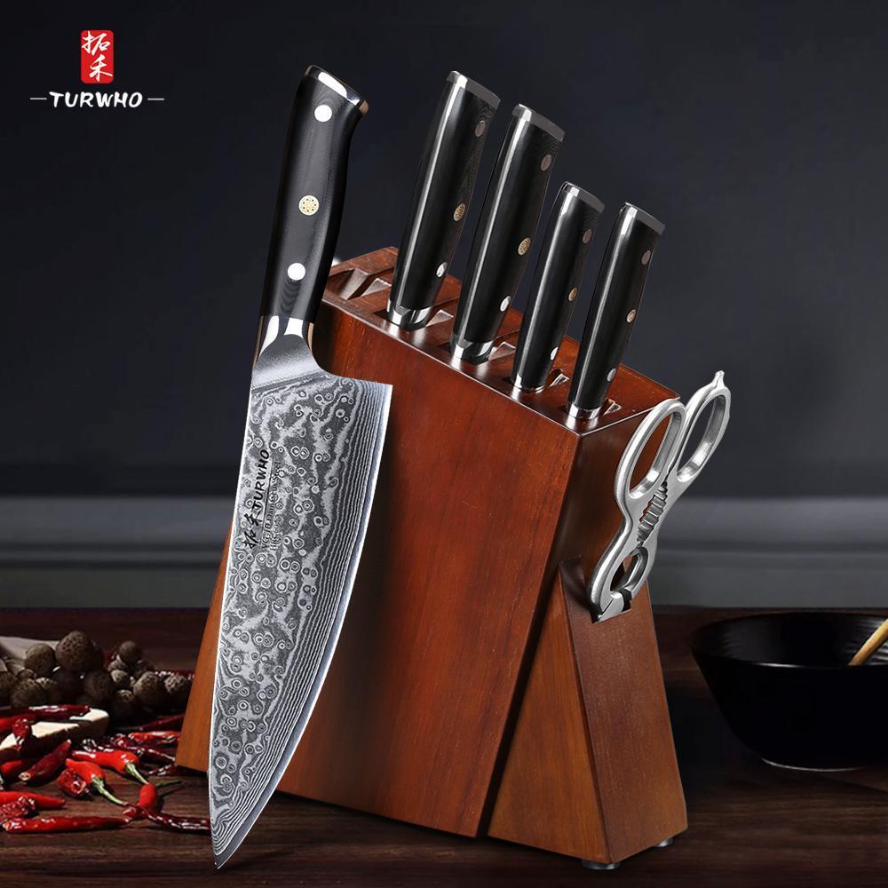 Turtho 7 PCs Beste Küchenmesser Sets mit ausgezeichneter Akazie Holz / Messer Set Block Super Sharp Japanische Damaskus Stahlmesser Set