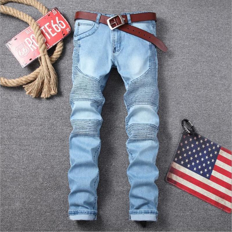 New Skinny azul plissado lápis calças de ganga para homem motocicleta Jeans Tamanho Grande alta qualidade de algodão denim Calças