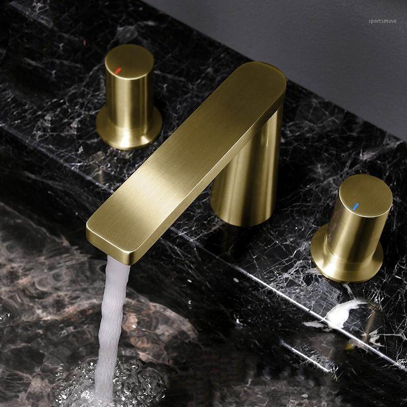 Fashion Brushed gold brass bathroom sink faucet three holes two handle Cold hot water mixer basin faucet1
