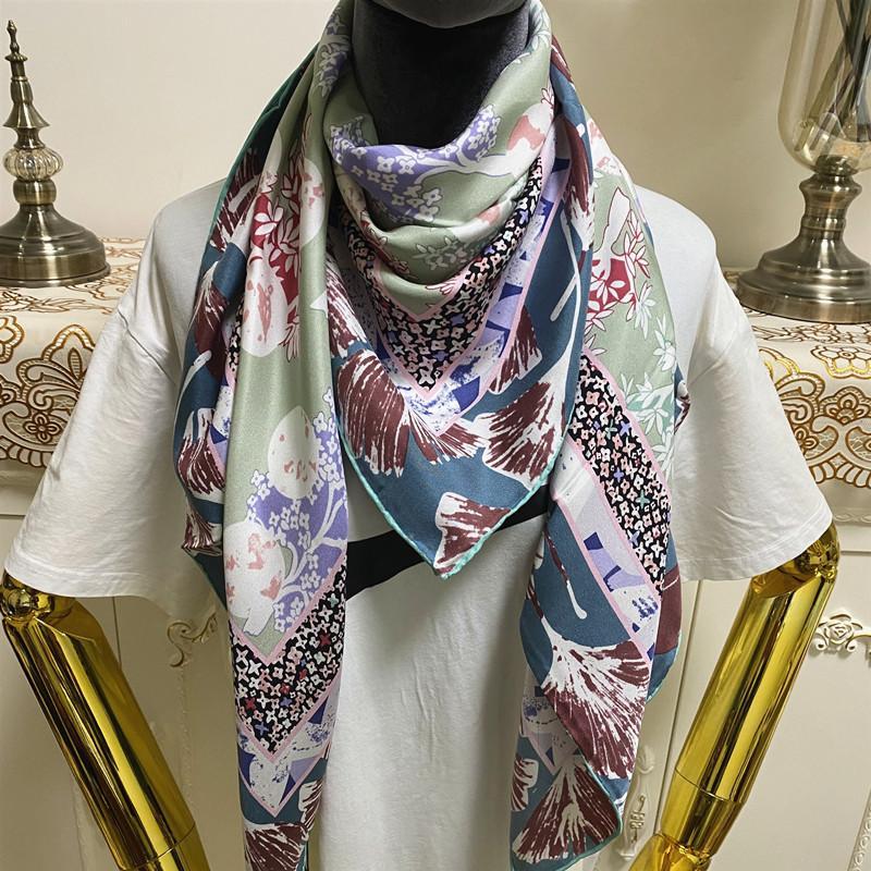 Новый стиль женские квадратные шарф шарфы хорошее качество 100% твил шелк материал зеленый цвет пинты буквы пласты размером 110см - 110см