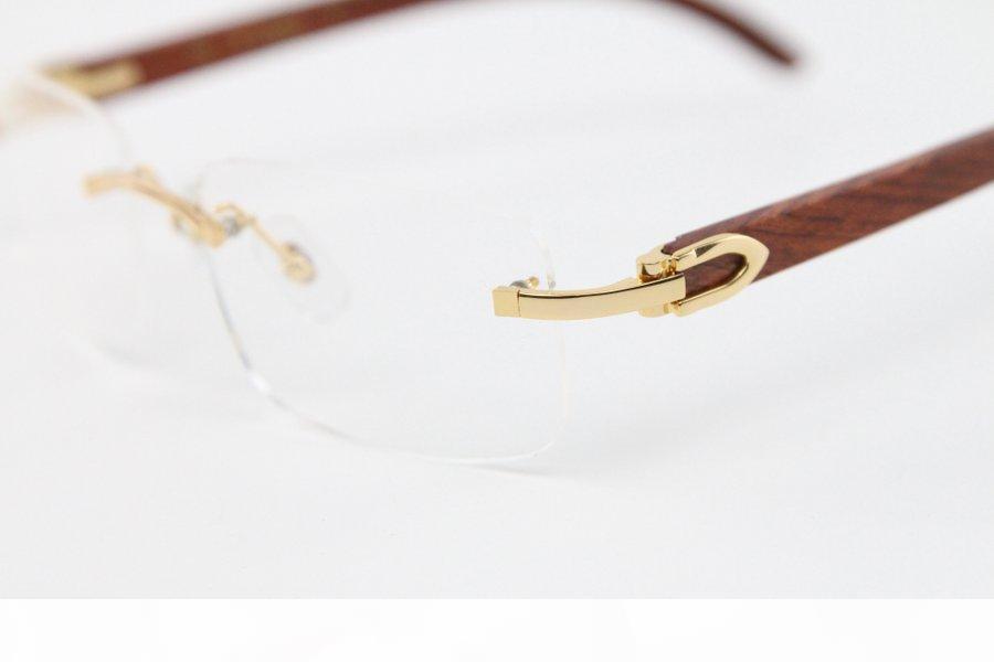2020 NOUVEAU Style Wood Lunettes de vue Unisexe pour femme 8200757 Cadre en métal doré argenté Gimless C Décoration Gold Cadre Glouse Taille: 56-18-140mm