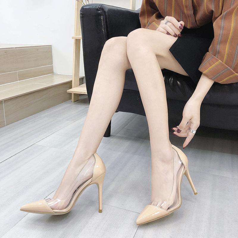 Xek Clear ПВХ прозрачные насосы сандалии Perspex каблуки каблуки высокие каблуки точка пальцев женские вечеринки туфли ночной клуб насос xyw01