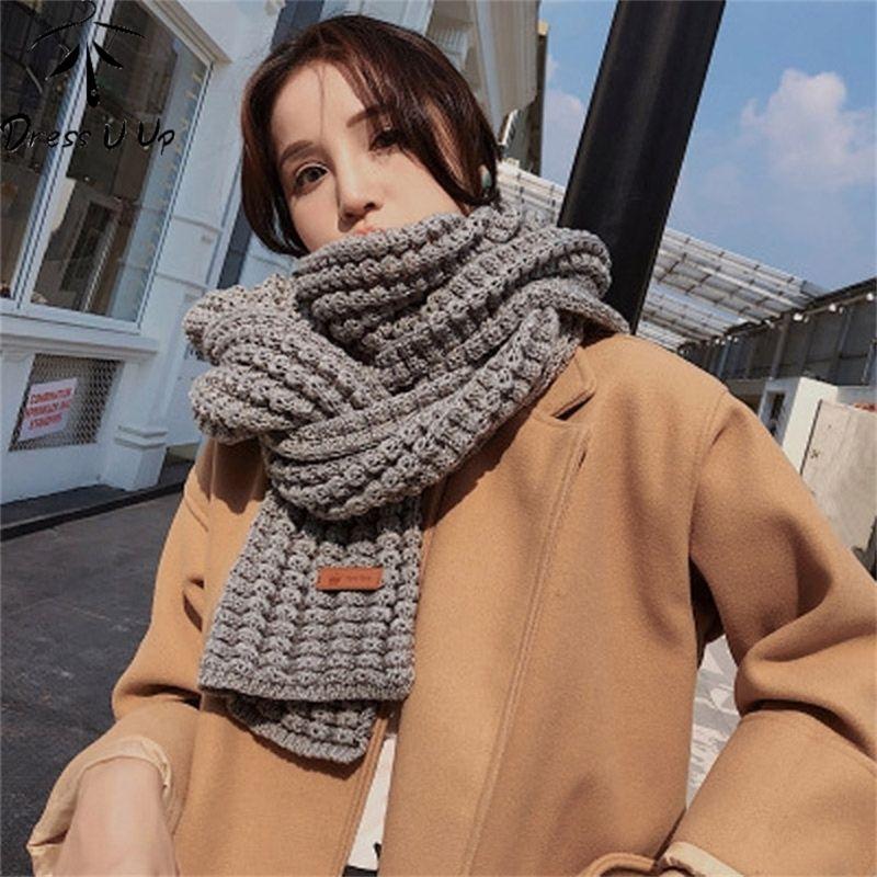 DRESSUUP Brand Women Winter Scarf Warm Solid Long Shawl Fashion Bufandas Mujer Foulard Femme Hijab Y201007