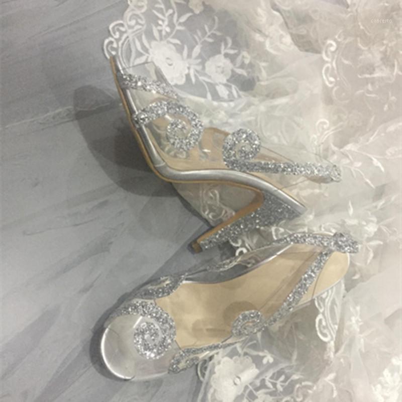 FGHGF 2020 невеста высокие каблуки, роскошный прозрачный дизайн, высокие каблуки высотой 10,5 см, большой размер пользовательских 35-451