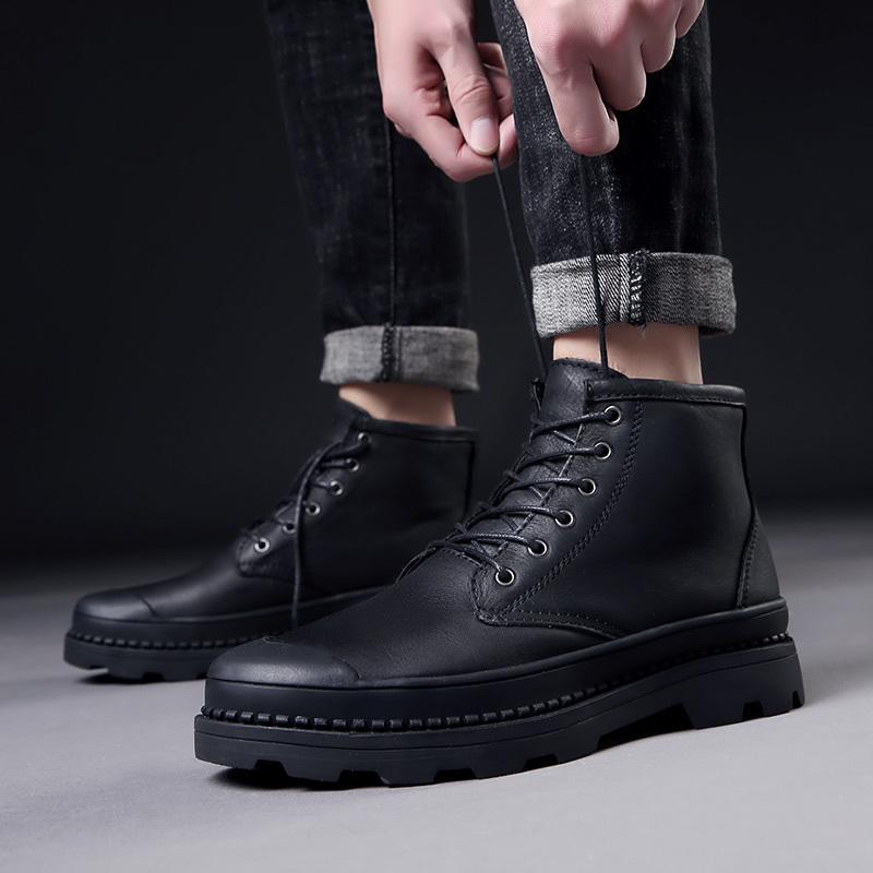 Ayak Bileği Açık Hakiki Deri Kış Kürk Sıcak Adam Kar Ordusu Avcılık Erkekler Için Ayakkabı Rahat Siyah Çizmeler