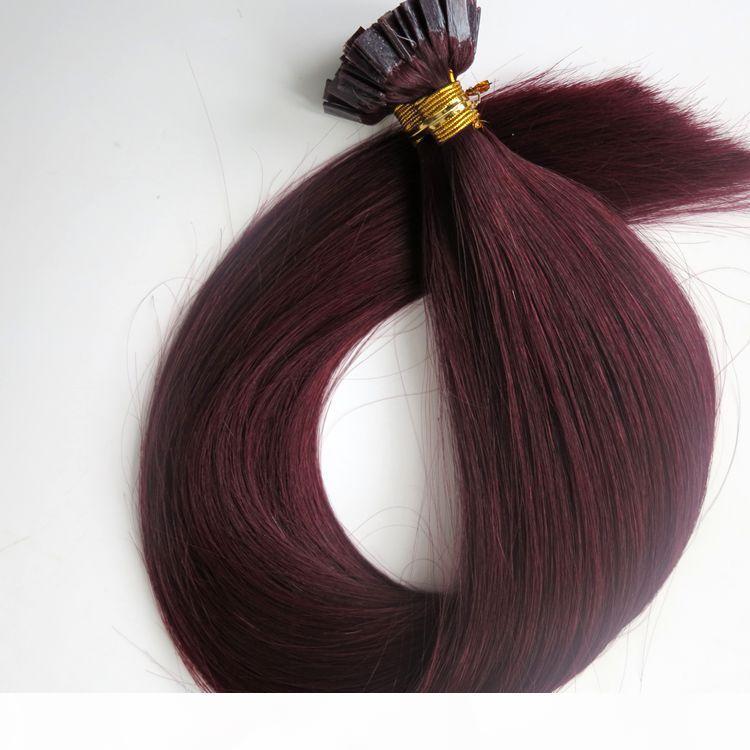 150g 1Set = 150Strands pre legati punta piatta estensioni dei capelli 18 20 22 24inch # 99J vino rosso brasiliano di Remy dell'indiano cheratina capelli umani