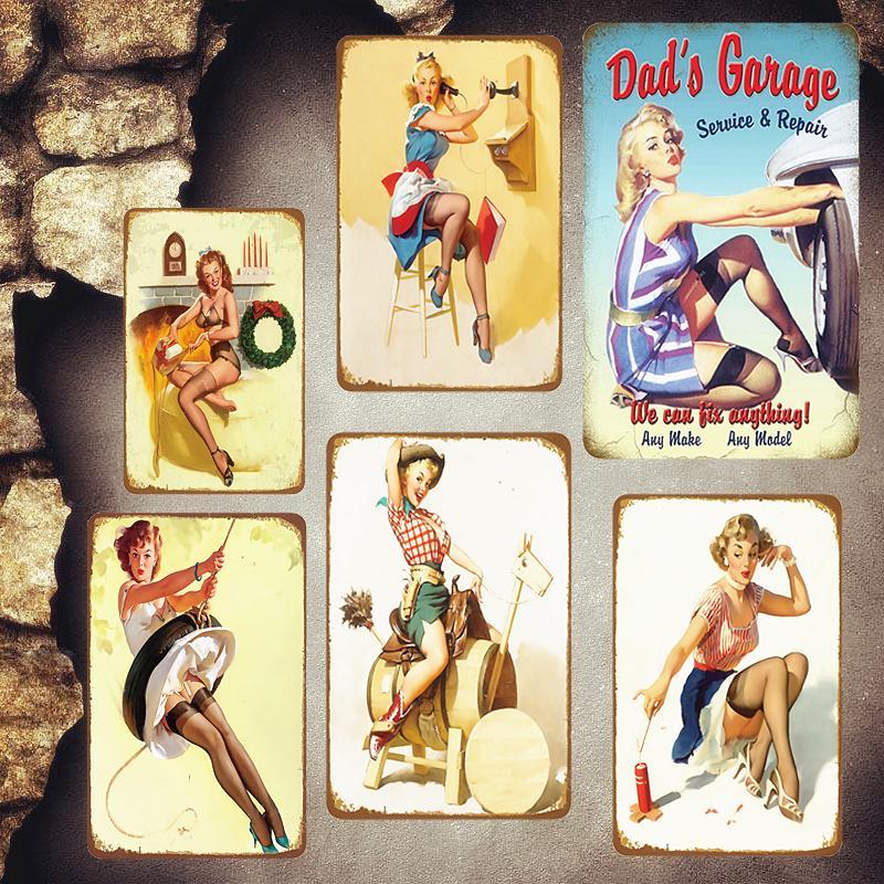 2021 Fille sexy 30x20 cm Garage de papa Vintage plaques de métal de cuisine PUB Cuisine Décoration Stickers muraux Pin up Girl Tin Signes Plaque de décoration de la maison