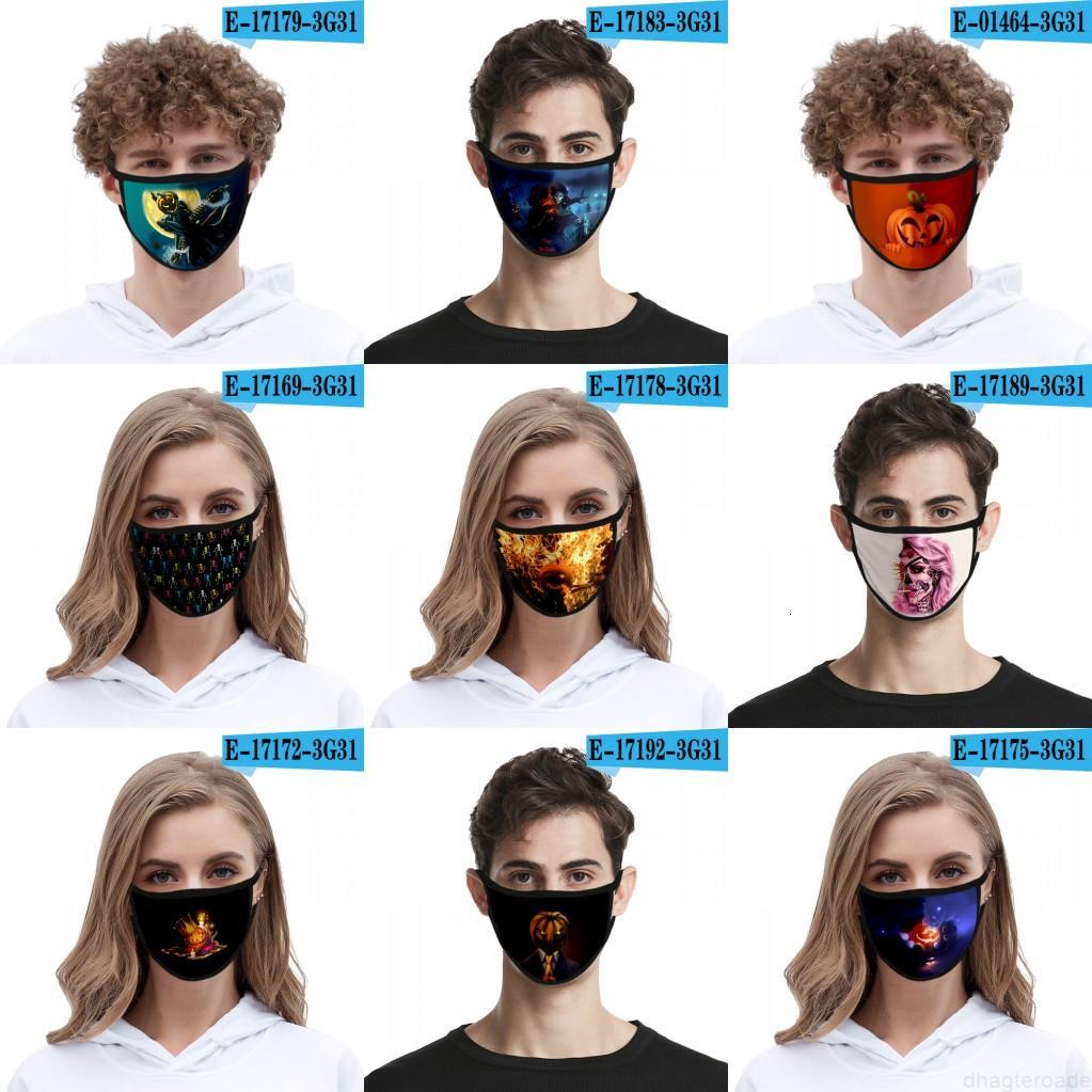 Unisex Fashion Party Funny Face Face Maschere di Halloween Pumpkin Maschera per adulti Bambini Cosplay Maschera di cotone Cosplay Anti Polvere Anti Polvere Cover Lavabile Riutilizzabile FY9184