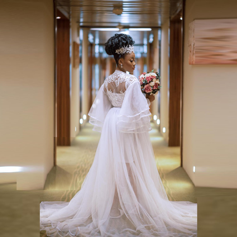 Tamaño más rebozo boda Mujeres Abrigos noche nupcial del vestido de manga larga para la ilusión Capa de Encaje Vestidos de maternidad sesión de fotos para bebés muestra Robe