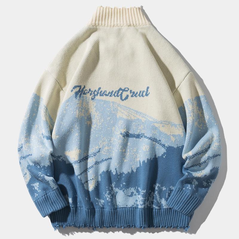 Seweyfan Pullover Männer 2021 Schnee Mountain Pullover Gestrickte Hip Hop Pullover Harajuku Casual Knitwear Jumper Tops