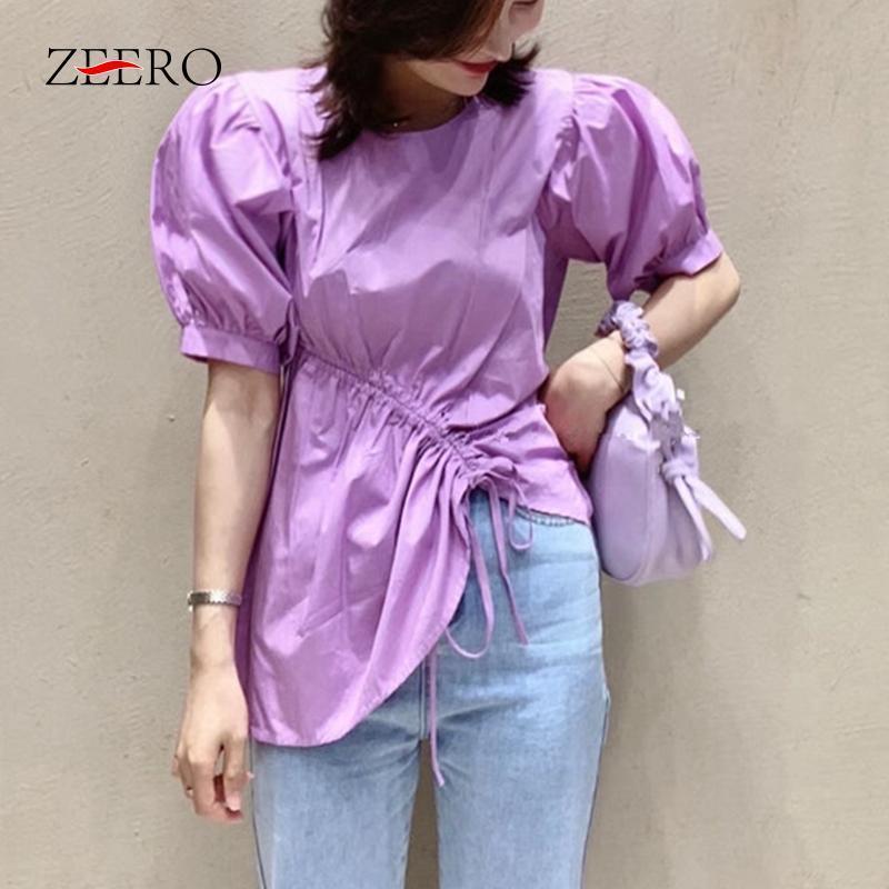 الكورية النساء خمر الرباط ruched الدانتيل يصل نفخة كم غير المتماثلة بلوزة قمصان الصيف أنثى أنيقة بيضاء الأعلى blusas موهير