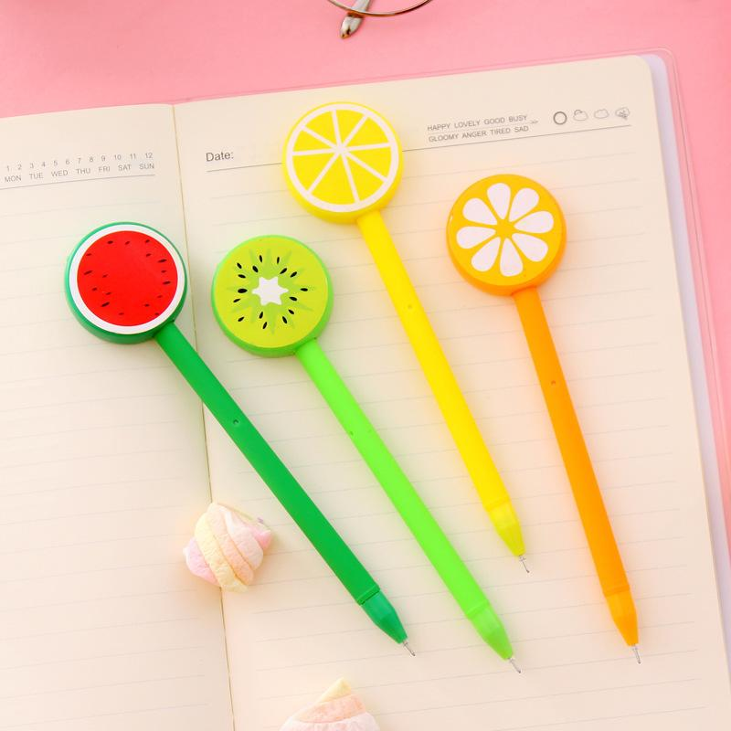 Creative Fruit Ballpoint Caneta Lemon Gel Pen 0.5mm Cartoon Caneta De Esferográfica Fruta e Vegetal Forma Ballpoint Pens