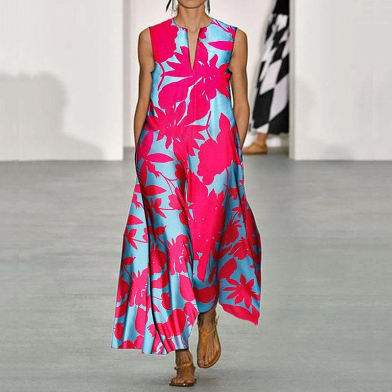 المرأة الصيف الجديدة V الرقبة بلا أكمام طباعة بوهيمية اللباس S-XXL