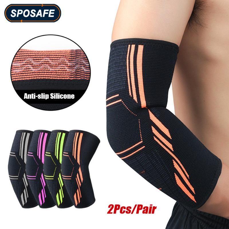 2pcs / paia / paio di fitness a gomito a gomito a compressione manica di compressione per tendinite tennis gomito, golf con trattamento con gomito e ridurre il dolore articolare