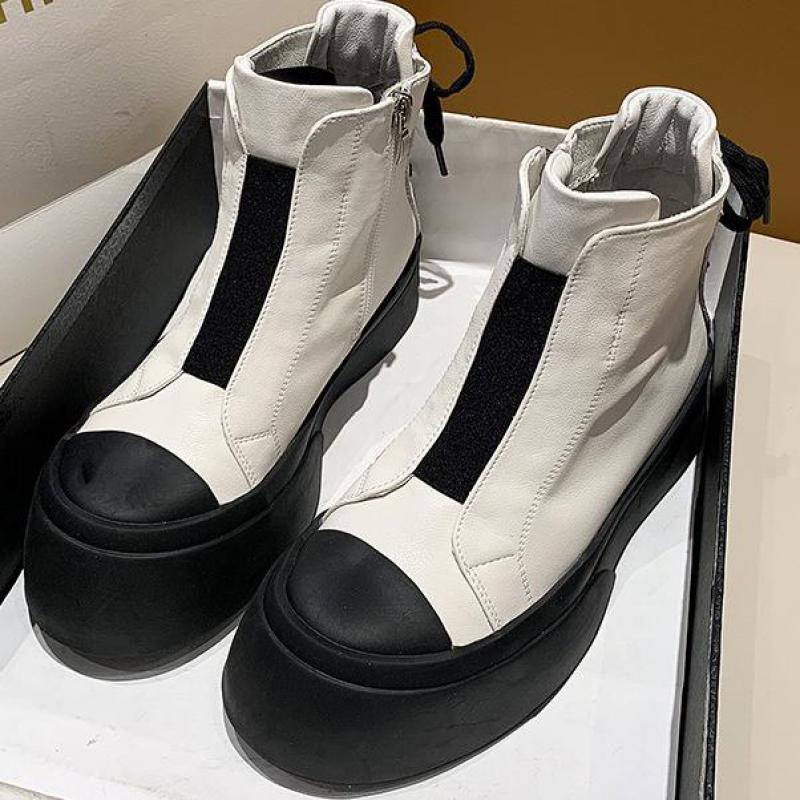 Botas de tornozelo para as mulheres 2021 botas de moto de outono Botas de salto grossa sapatos de tornozelo mulher ida e volta dedo do pé moda lace-up