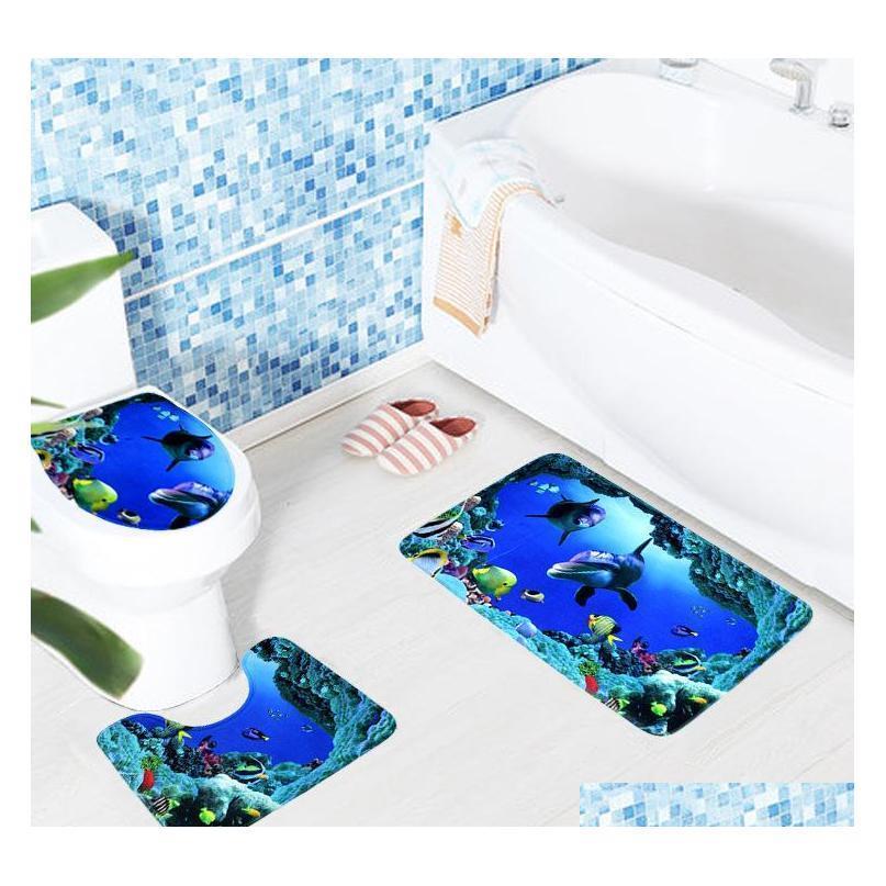 2018 3pcs Anti Slip Stuoie da bagno tappeti da bagno oceano subacqueo wear wc tappetino tappeto wc Qylncv Garden2010