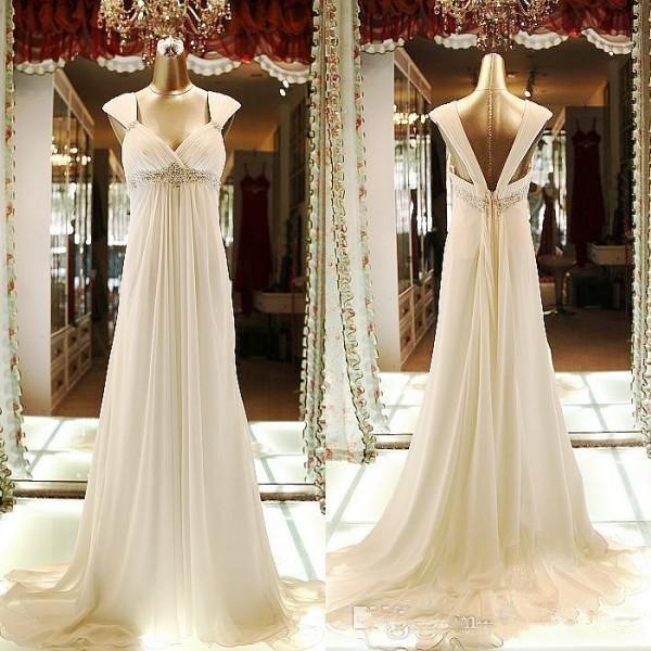 Real Fotos branco de chiffon com Império cintura casamento com frisada Sash Backless varredura longa Plus Size A Linha de vestidos de noiva para Jardim