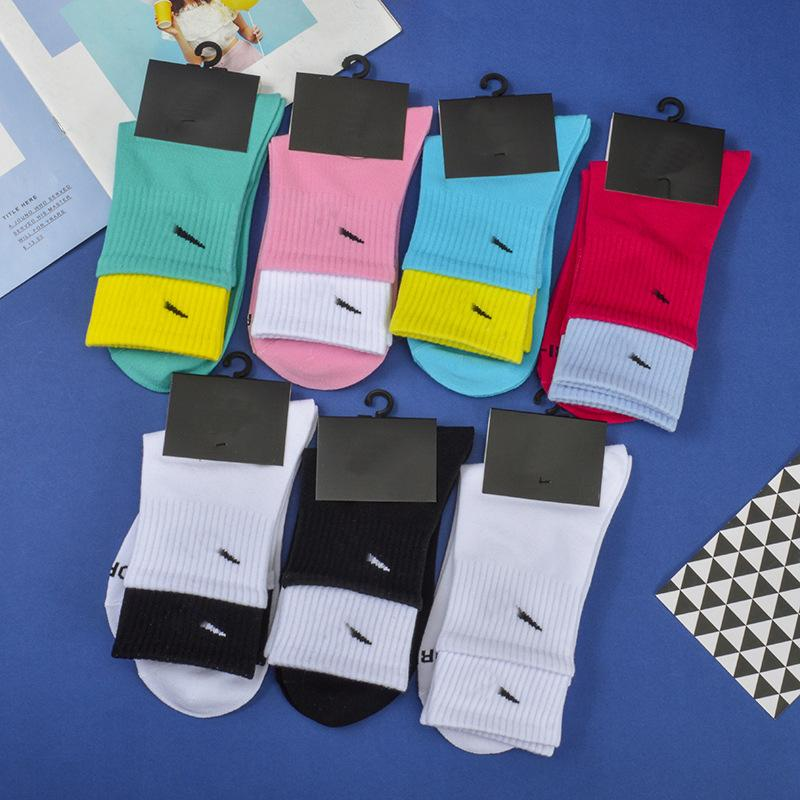 Autumn and Winter New Double Luokou Lovers' Medium Tube Socks Personality Female Designer Sports Socks College Style