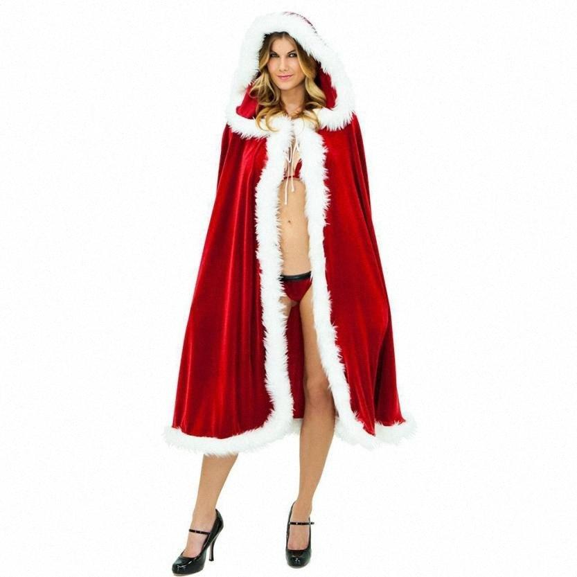 1PC Красного бархат Рождество капюшон мыс плащ Делюкс костюм Женщина мода Палантин Нового Клаус партия Cosplay одежда Рождество нпо! N9HW #
