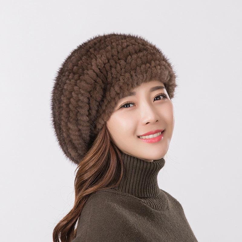 chapeau beret fourrure de femmes haut de vison de qualité chapeau tricoté mode chapeau beret fourrure tricotée velours vison chaud 201019