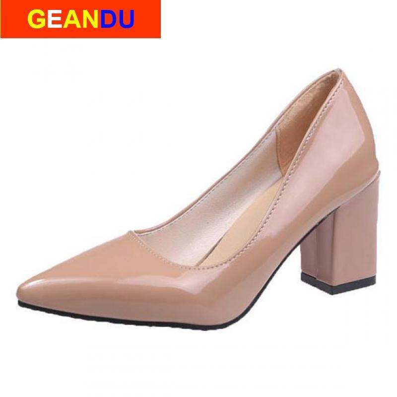 Mulheres Platform Sexy sapatos bicudos Toe saltos altos das senhoras Bombas Heel Praça sapatos tamanho grande Chaussures Femme Stiletto senhoras