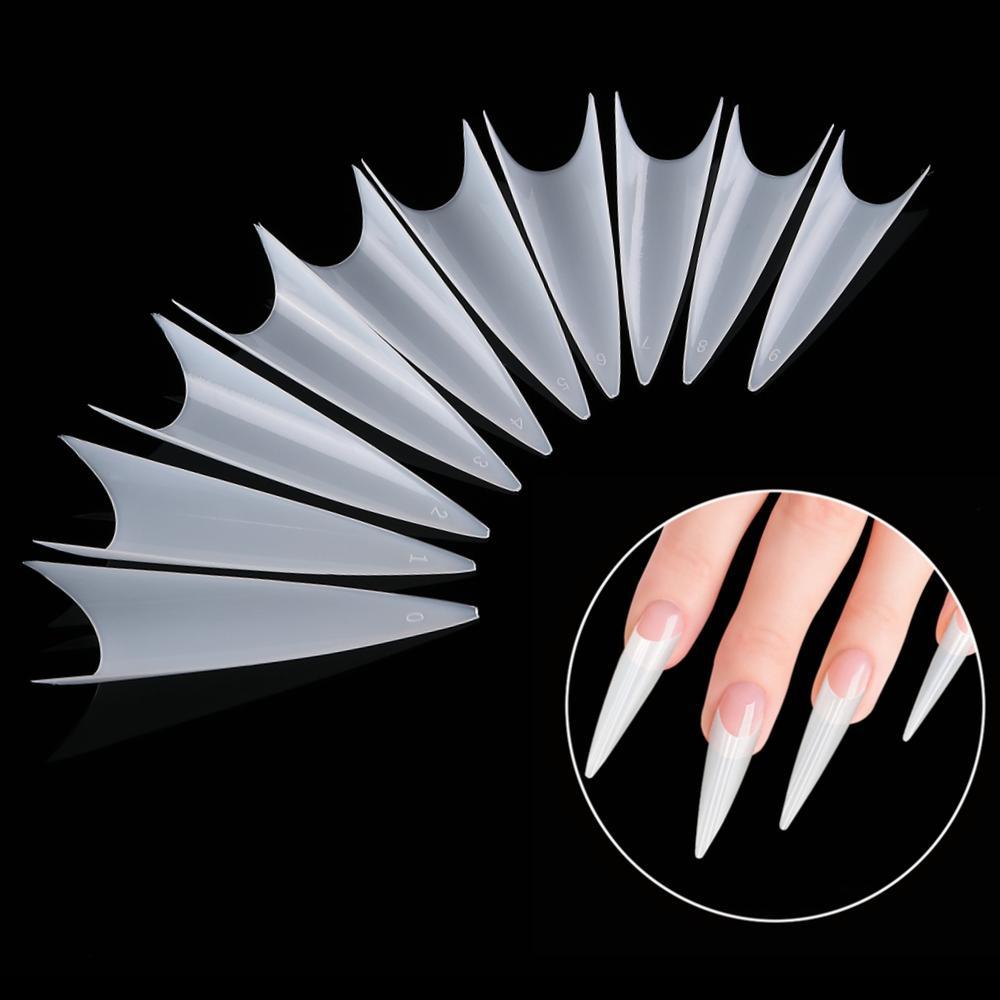 KROFAUE 500pcs cobertura completa Falso Nail unhas Dicas Acrílico artificial com 10 Tamanho Natural Transparente Nail Art Manicure