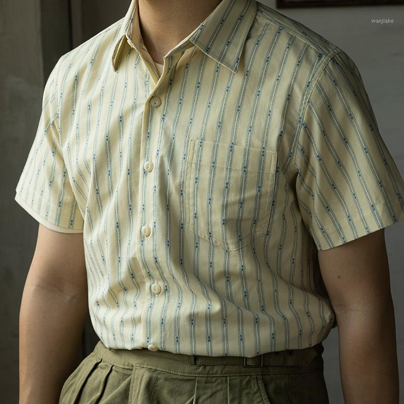 Red Retro 1930s Jacquard Stripe Stripe Camisetas de manga corta Ropa de trabajo de los hombres de verano1