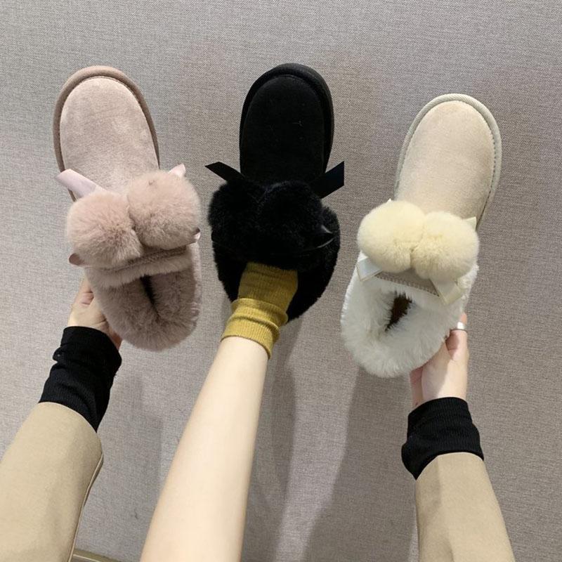 Bottes hiver femme talon épais talons Bottines plates Bottes 2020 Mode casual chaud confortable en peluche Chaussures de neige pour Femmes Chaussures